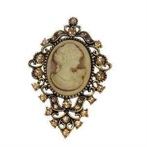 Vintage Inspired Cameo Brooch Pin